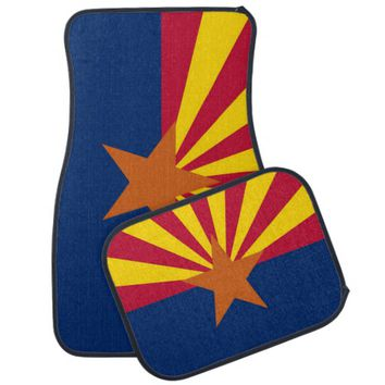 Patriotic set of car mats with Flag of Arizona