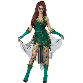 Vocole Womens Halloween Anime Green Lethal Beauty Superhero Batmen Poison Ivy Cosplay Costumes Fancy Dress