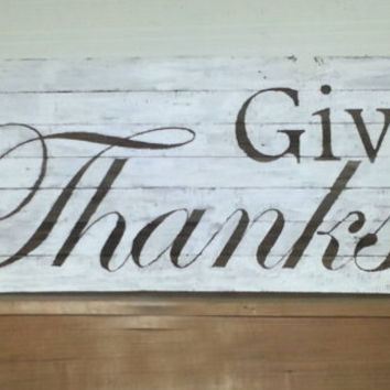Barn Wood, Give Thanks, Thanksgiving, sign, November, Rustic wood sign, Thankful, primitive, white wash, home decor Autumn, Fall pallet wood