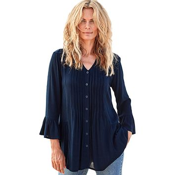 Navy Flounce Crinkle Button Down Tunic Top