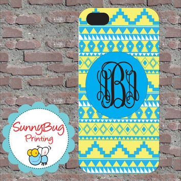 Custom Monogram Yellow and Blue Aztec Iphone 4, 4s, 5 and Samsung III Cases!