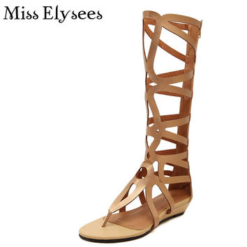 2017 New Arrival Cross Strap High Gladiator Sandals Women's Shoes Summer Laser Cutting Fashion Flip Flops Female Footwear Size40