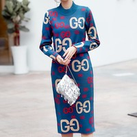 GUCCI New fashion more letter keep warm long sleeve dress Blue