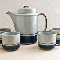 Mid Century Otagiri Mariner Stoneware Coffee Set Cobalt Blue Hand Made in Japan