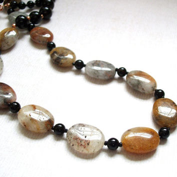 Brown necklace, quartz jewelry, natural stone necklace, Hematoid quartz and black onyx with copper accents gemstone necklace.