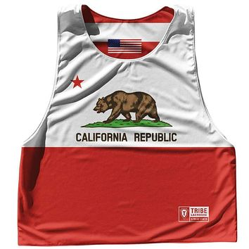 California State Flag and American Flag Reversible Lacrosse Pinnie