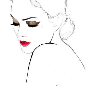 Print from original watercolor and pen fashion illustration by Jessica Durrant titled, Simplicity
