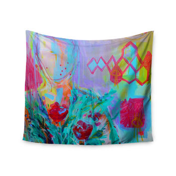 """Cecibd """"Girl With Plants I"""" Lavender Nature  Wall Tapestry"""