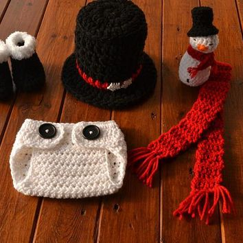 Crochet Snowman Outfit Newborn Baby Christmas Outfit
