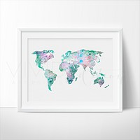 World Map 7 Watercolor Art Print