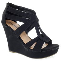 Open Toe Strappy Platform Wedge Dress Sandals