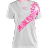 Under Armour Women's Power in Pink Camo Ribbon V-Neck T-Shirt - Dick's Sporting Goods