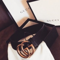 GUCCI Tide brand double G jeans wild simple smooth buckle belt