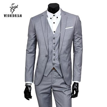 Solid Mens Wedding Suits One-Buckle Brand Suits Jacket Formal Dress Slim Fit Men Suits Set Groom Tuxedos (Jacket+Pants+Vest)
