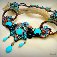 OOAK statement beaded black unique soutache necklace, turquoise african necklace, black-turquoise-orange necklace statement soutache jewelry