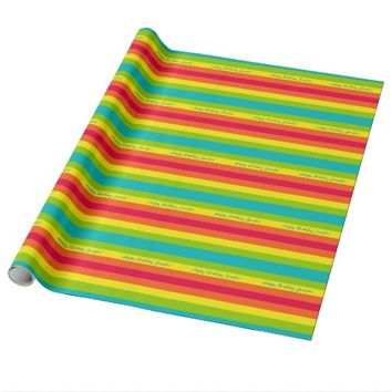 Five Color Striped Wrapping Paper, Happy Birthday Wrapping Paper