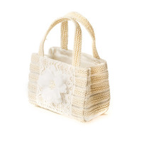 Kids Sparkly Straw Handbag with Flower