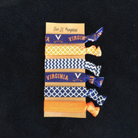 University of Virginia and Syracuse Inspired Orange and Navy Chevron and Quatrefoil Fold Over Elastic Hair Ties No Crease -
