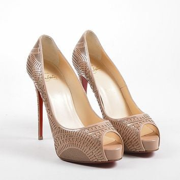 PEAP Nude Christian Louboutin Patent Leather   Suellena 120   Pumps