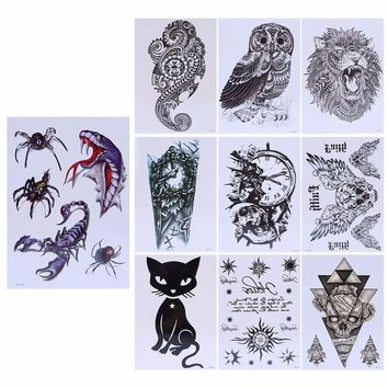 21cmx15cm Large Temporary Tattoo Skull Owl Body Arm Stickers Black Removable Waterproof