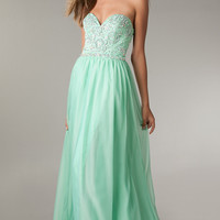 Full Length Strapless Open Back Prom Gown by Flirt
