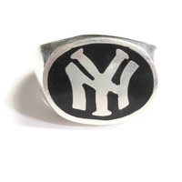 Men's Onyx Sterling New York Yankees Ring Size 11