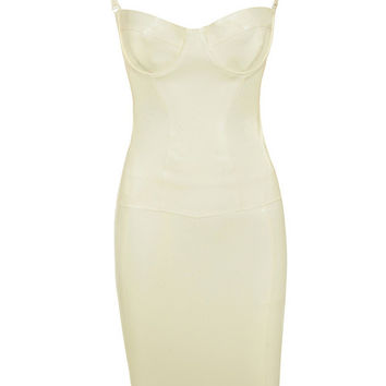 Clothing : Bodycon Dresses : 'Casmia' Vanilla Latex Detachable Strap Bustier and Skirt Two Piece