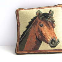 Vintage Embroidered Horse Pillow Decor