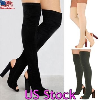 Womens Over The Knee Boots Open Toe Stretch Tigh High Block Heel Slingback Shoes
