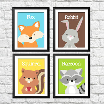 Forest animals nursery wall art, woodland decor nursery, kids bedroom forest posters, squirrel raccoon, fox rabbit art, kids fox decor
