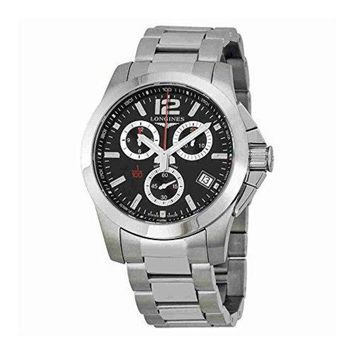 Longines Conquest Chronograph Black Dial Stainless Steel Mens Watch L37004566