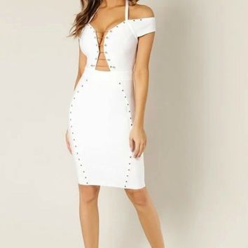 Christina Metal Trim Off Shoulder Bandage Dress