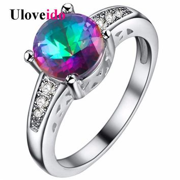 Uloveido 5% Off Round Rings for Women Rainbow Zircon Engagement Ring with Stone Silver Color Ringen Bijoux Female Costume PJ153