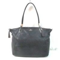 Auth COACH Pebbedo Leather Kelsey Satchel F34494 Black Leather Handbag