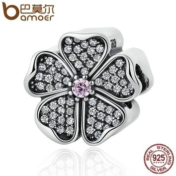 925 Sterling Silver Sparkling Apple Blossom, Blush Pink Crystal & Clear CZ Beads Charms Fit Bracelet Women Jewelry PSC051