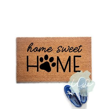 Home Sweet Home Paw Print Doormat