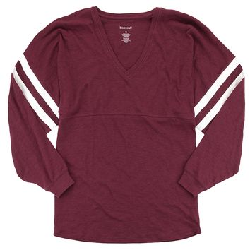 Lightweight Long Sleeve Baseball Jersey. Comfy V-Neck Top. Up to 2x. Maroon