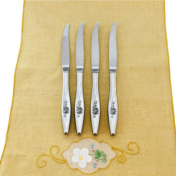Oneida Lasting Rose Flatware, Vintage Oneidacraft Stainless Tableware, Set of 4 Steak Knives