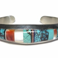 Vintage Navajo Turquoise Inlay Sterling Cuff Bracelet Rick Tolino 6.5 Inches