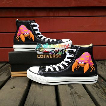 Black Converse All Star Women Men Shoes Pokemon Go Parasect Crab Design Hand Painted Sneakers Boys Girls Skateboarding Shoes 4