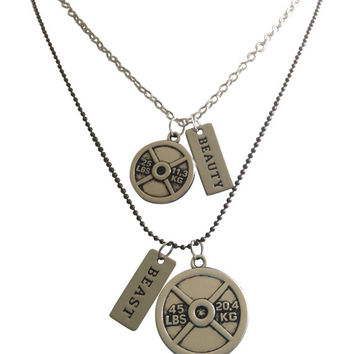 "Couples Fitness Necklaces, SET of ""Beauty"" and ""Beast"" Necklaces with Weight Plates By Thimbleful Threads"