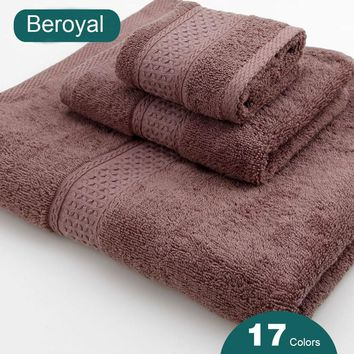 3PC 100% COTTON FACE TOWEL HAND TOWEL BATH BATHROOM TOWELS Set 16 Colors Beroyal