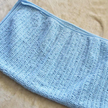 Light Blue, Sparkly Baby Blanket / Afghan - Crochet
