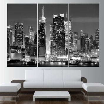 large canvas print New York Manhattan wall art, manhattan Skyline canvas print, Manhattan photo print black and white wall art, t466