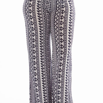 High Waisted Geometric Plus Size Palazzo Pants