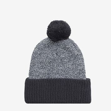 Pom Pom Beanie in Heather Gray/ Black