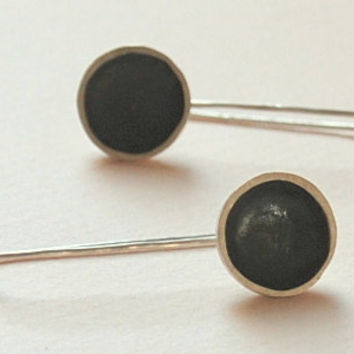 Sterling Silver Oxsidized Round Earrings Long Dangle