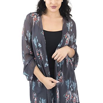 Women's Printed Kimono with Bell Sleeves