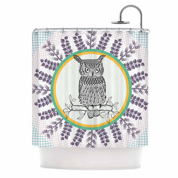 "Famenxt ""Owl"" White Purple Shower Curtain"