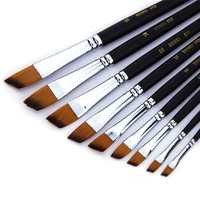 9pcs Paint Brush Oil Acrylic Paint Brush Watercolor Brush Nylon Hair Drawing Tool Art for Supplies